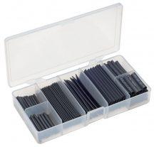 zsugorcső készlet, vékonyfalú, fekete, 127 darabos