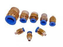 """műanyag-levegőcső dugaszolható csatlakozó, egyenes, külső menetes, 3/8"""", 6mm"""