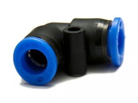 műanyag-levegőcső összekötő (dugaszolható), 90° könyök, 2x 6mm