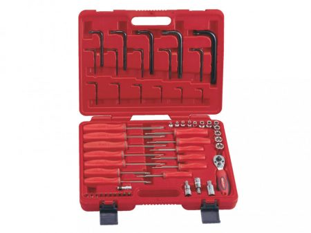 """Csavarhúzó és L-kulcs készlet, torx E+T típusú, 1/4"""" és 3/8"""" 56 darabos"""
