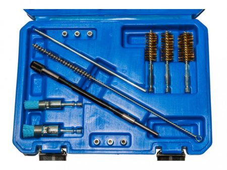 befecskendező (injektor) fészek tisztító készlet, 14 darabos